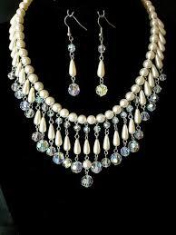 pearl crystal statement necklace images Romantic fantasy pearl crystal statement necklace and earring set jpg