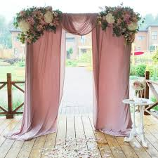 Cheap Draping Material Wedding Ceremony Drapery With Floral Arbor Love The Dusky Pink