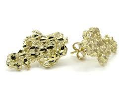 10k earrings 10k yellow gold diamond cut small nugget earrings