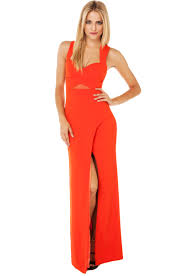 bariano dresses curve slit mesh cut out maxi dress in mandarin