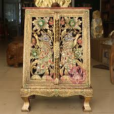 wood carving peacock small corner cabinet jinkongque cabinet 3