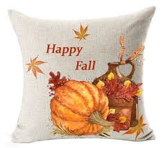 Fall Outdoor Pillows by Crazy Cart Cotton Linen Square Decorative Throw Pillow Cover