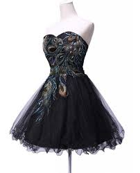 short black strapless peacock feather prom dresses for peacock
