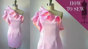 how to sew a one shoulder satin ruffle dress youtube