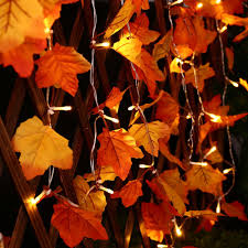maple leaf garland with lights icicle thanksgiving decoration lights 20 led battery powered