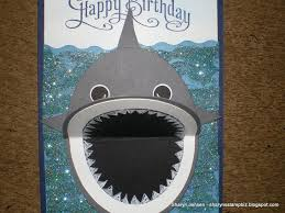 shark card for big d very cute for a boy birthday made with 4