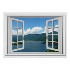 window posters mountain lake view trompe l oeil window poster home is