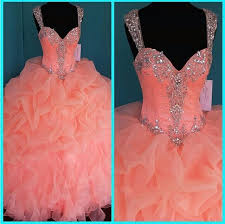 coral quince dress 2017 coral quinceanera dresses crystals ruffles layered gown