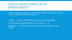 How To Use A Spreadsheet Lesson 3 7 And 3 8 Variables And Formulas In Spreadsheets Ppt