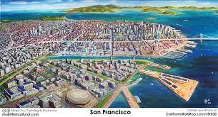 san francisco map painting san francisco 2030 skyline california rail map