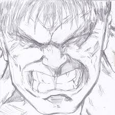 hulk face closeup sketch mifty is bored