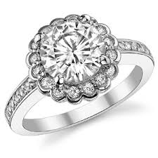 flower halo engagement ring forever one moissanite flower shaped halo engagement ring