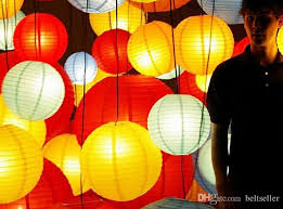 1230cm paper lanterns with led lights multi color