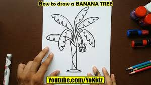 how to draw banana tree youtube