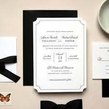 Ruby Anniversary Invitation Cards Elegant Black And White Die Cut Letterpress Wedding Invitation