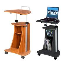 Rolling Laptop Desk by Mobile Compact Computer Cart Table Desk Overbed Shelf Standing