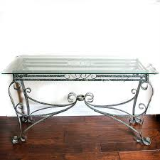 Glass Entry Table Wrought Metal And Glass Entry Table Ebth
