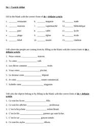 contractions with de definite article in french worksheet 2 by jer