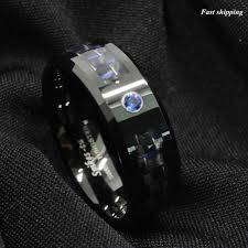 tungsten black rings images Black and blue carbon fiber tungsten ring blue diamond mens jpg