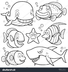 vector illustration sea animals collection coloring stock vector