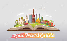 travel asia images Travel to asia road trip tourism open book with landmarks jpg