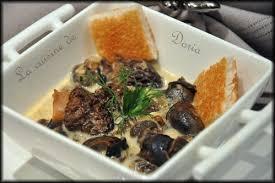 escargot cuisiné escargots à la crème et morilles la cuisine de doria