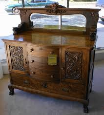 Antique Server Buffet by Description Solid Oak Hand Carved Medium Oak Bow Front Center