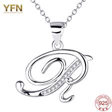 jewelry necklace letters images Yfn 925 sterling silver jewelry a pendants necklaces letter r jpg