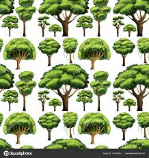 different types of trees seamless background design with different types of trees stock