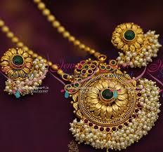 fashion jewellery necklace set images Ps4781 fancy design antique pearl hangings pendant set artificial JPG