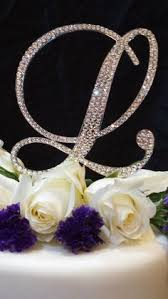 l cake topper 5 initial monogram wedding cake bling sparkly swarovski