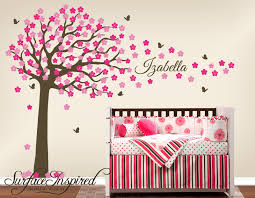 Monogram Wall Decals For Nursery Modern Bedroom Area With Brown Tree Pink Floral Wall Decal Nursery