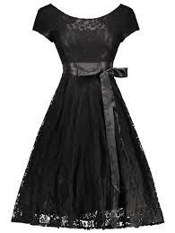 floral lace self tie vintage knee length cocktail dress black m