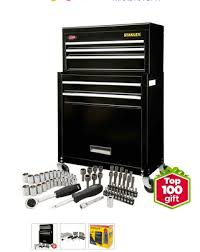 stanley 10 drawer rolling tool cabinet stanley rolling tool chest with bonus 68 piece mechanic set only 89