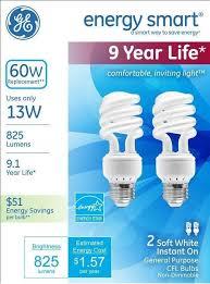 ge energy smart cfl light bulbs 13 watt 60w equivalent ge lighting 42105 energy smart cfl 13 watt 825 lumen t3 spiral light