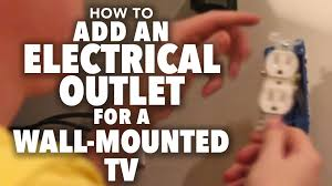 how to add an electrical outlet for a wall mounted tv youtube