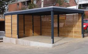 design carport holz myport einzelcarport aus metall in anthrazit mit wandelement wpc