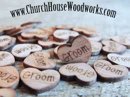 bride groom mr mrs wood burned heart confetti rustic weddings