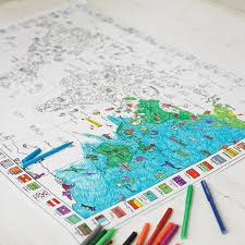 colour in world map poster and pens by doodlebugz colouring