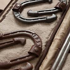 personalized horseshoe set giles gunter leather horseshoe set in titan milled brown
