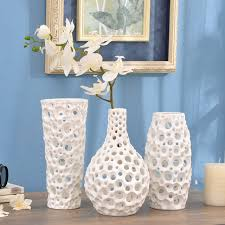 handmade geometry hollow emboss dots white flower porcelain