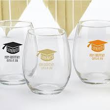 graduation wine glasses personalized 15 oz graduation stemless wine glass congrats