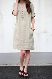 summer dress khaki linen dress maxi dress cotton dress casual cotton