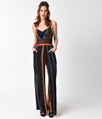 1970s jumpsuit voodoo vixen 1970s style black rainbow striped jumpsuit