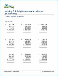 grade 4 addition worksheets free u0026 printable k5 learning