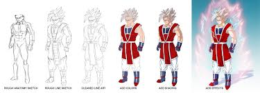 dbz character drawing process domino99designs deviantart