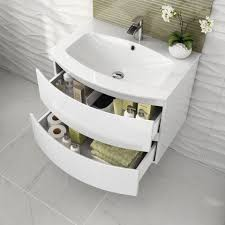 Wall Vanity Units 700mm Amelie High Gloss White Curved Vanity Unit Soak Com