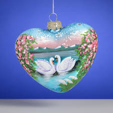 russian swans painted glass ornament the cottage shop