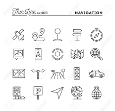 Maps Traffic Navigation Direction Maps Traffic And More Thin Line Icons Set