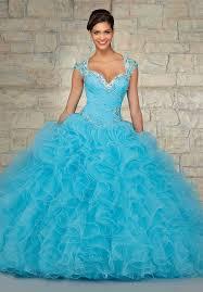 blue wedding dress designer designer ruffle organza beaded font b gown b font sky font b